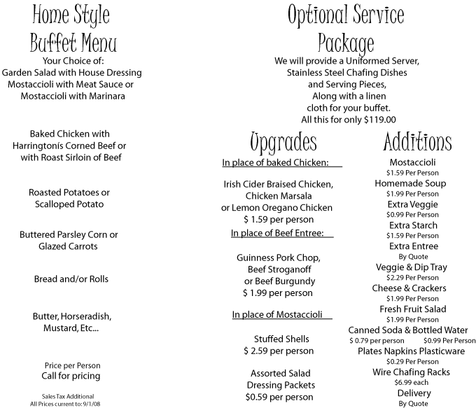 Delivered Menu